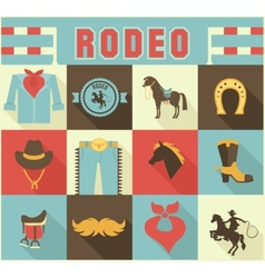 Assortment of rodeo themed icons vector