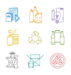 Colored groups outline various garbage separate vector