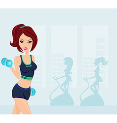 Fitness woman exercising in gym vector