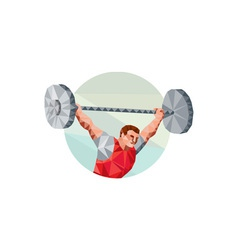 Weightlifter lifting barbell circle low polygon vector