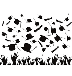 Students graduating and tossing caps vector