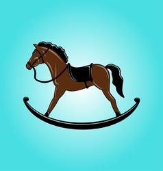 Brown toy rocking horse vector