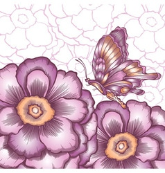 Postcard with decorative flower and butterflies vector