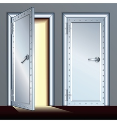 Opened and closed vault door vector