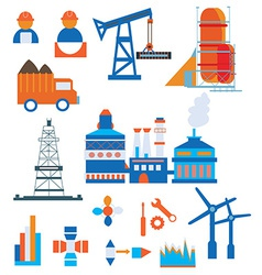 Industry icons for factory and workers vector