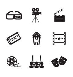 Cinema and movie icon set modern trendy silhouette vector