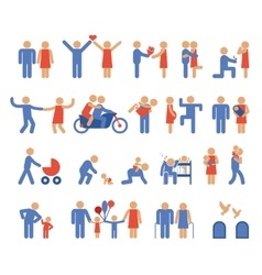 Assortment of family and couple pictogram icons vector