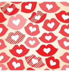 Seamless festive background with lips and hearts vector
