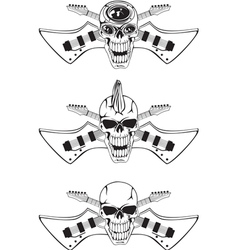 Skull with crossed guitars vector