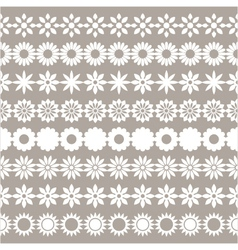 Set of flower borders floral elements vector