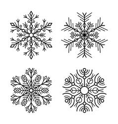 Snowflake icons set on white background vector