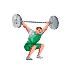 Weightlifter lifting barbell low polygon vector