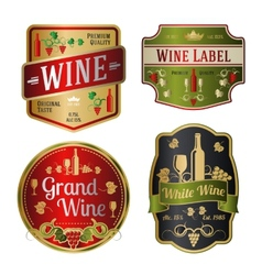 Set of colorful wine labels different shapes vector