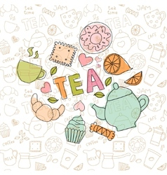 Colored doodle sweets and tea items vector