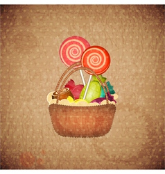 Sweets on crumpled paper vector
