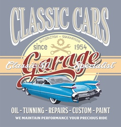 Classic car garage vector