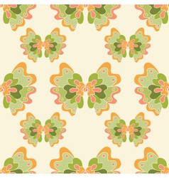 Seamless abstract pattern with green flowers vector