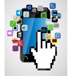 Universal design mobile phone with mouse hand vector