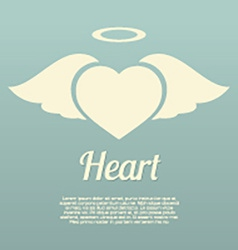 Single heart wings with halo symbol vector