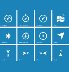 Compass icons on blue background vector