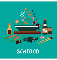 Flat seafood dish concept with salad ingredients vector
