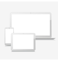 Blank laptop smartphone and tablet mock-up vector