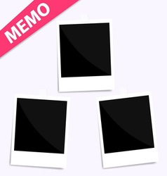3 memo polaroid photo on wall vector