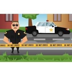 Policeman and patrol car vector