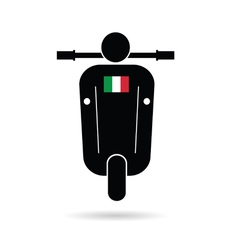 Scooter silhouette with italy flag vector