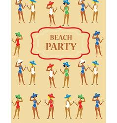 Beach party funny invitation - cartoon vintage vector