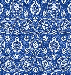 Blue lace seamless abstract floral pattern vector