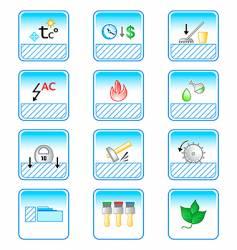 Floor coverings properties icons vector