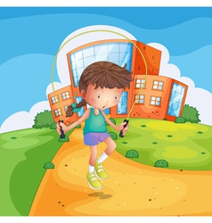 A young girl playing at the school ground vector