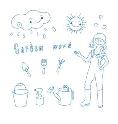 Garden work vector