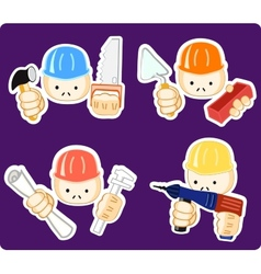 Builders with professional tool vector