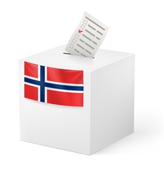 Ballot box with voicing paper norway vector