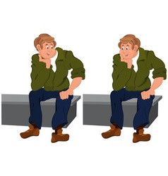Happy cartoon man sitting on gray bench vector