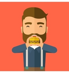 Man happy eating hamburger vector