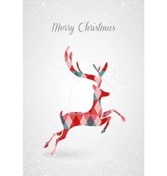 Merry christmas retro abstract deer postal card vector