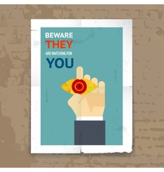 Security poster with surveillance concept vector