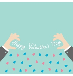 Businessman hands holding happy valentines day vector