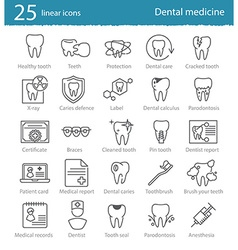 Dental medicine thin line icons set vector