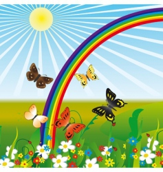 Rainbow and butterflies vector