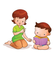 Mom teaches son reading vector