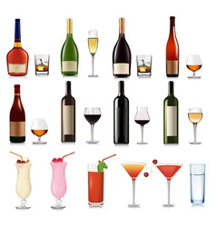 Super group of drinks and cocktails vector