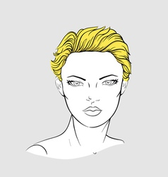 Face of blonde woman with short haircut vector