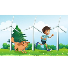 A boy and his dog near the three windmills vector