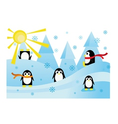 Colorful with funny penguins in snow vector
