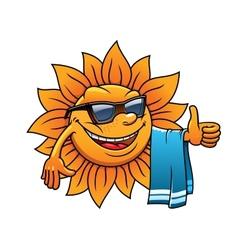 Happy tropical sun on a beach vacation vector