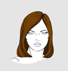 Face of woman with medium long hair vector
